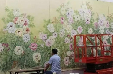 巨野书画院创作巨幅工笔牡丹画《锦绣春光》亮相进博会