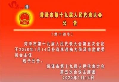 菏泽市第十九届人民代表大会公告 (第十四号)