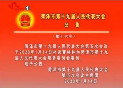 菏泽市第十九届人民代表大会公告 (第十六号)