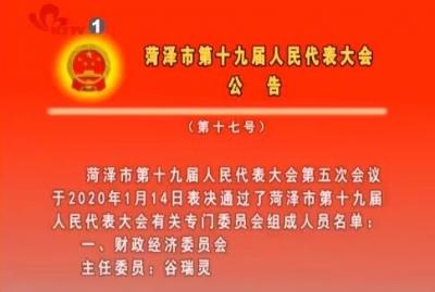 菏泽市第十九届人民代表大会公告 (第十七号)
